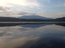 Katahdin in a cloud bank, as seen from our campground