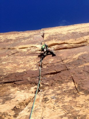 James contemplating the crux of Levitation 29