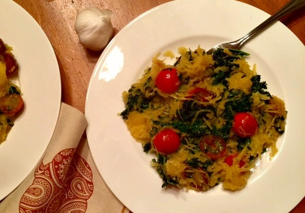 spaghetti squash and kale