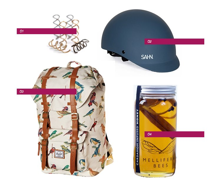 Lovely things: stylish bike helmet, bird-print backpack, honey & hair pins