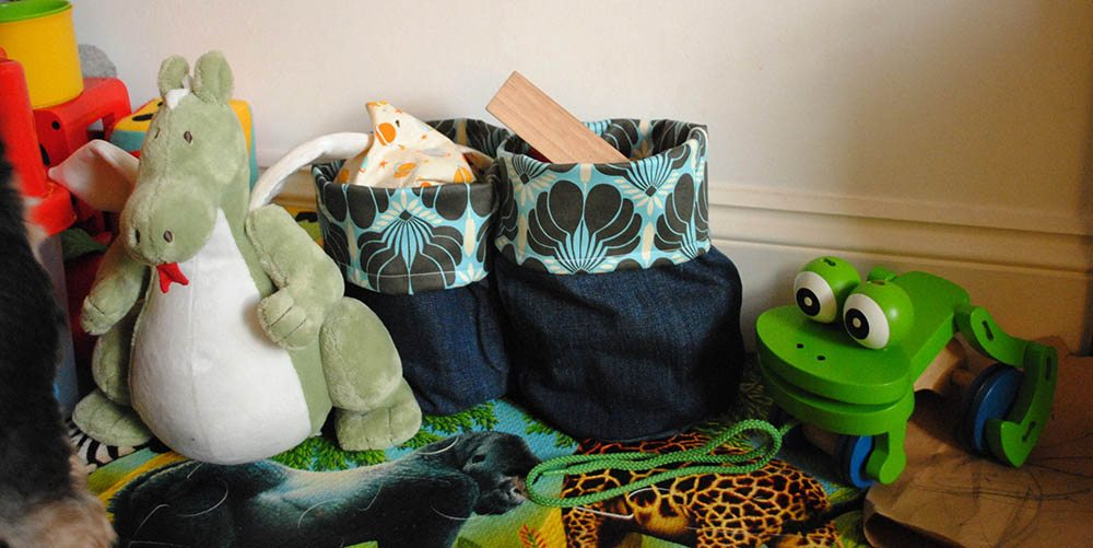 Make soft storage bins from old jeans