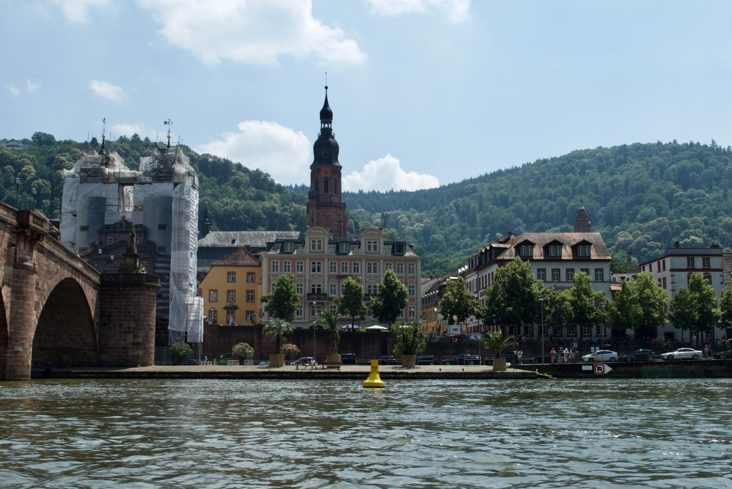 The view of the Old Bridge and Old Town from one of the little motorboats on the Neckar.