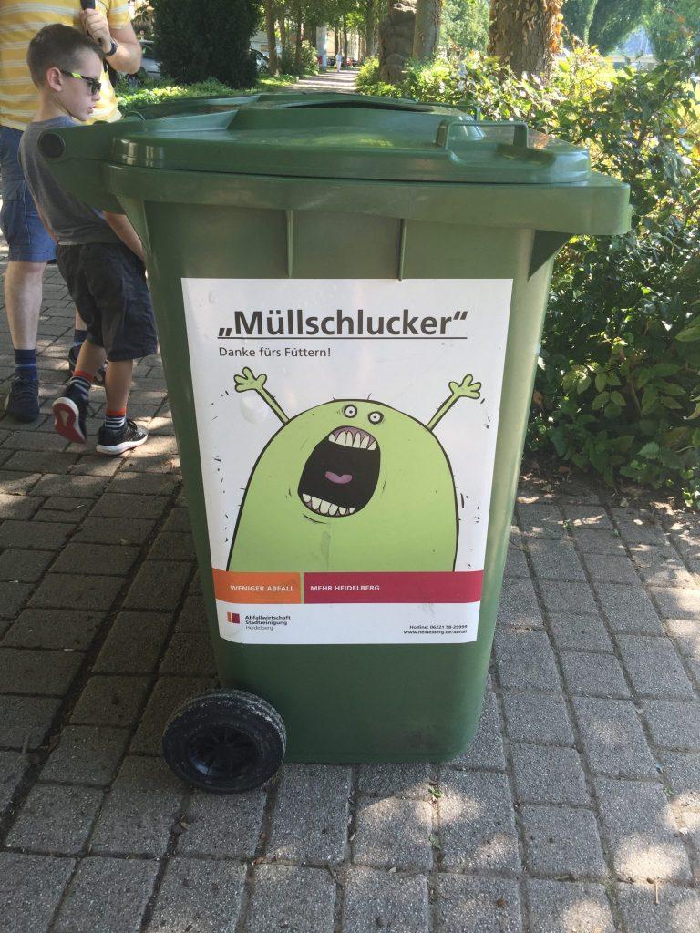 German green garbage rubbish bin