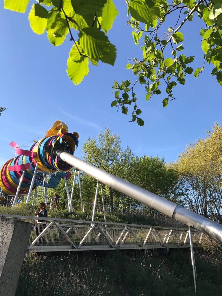 paris with kids – parc de la villette dragon slide