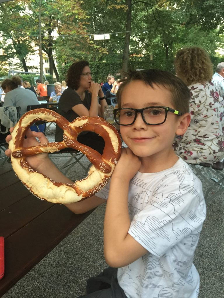 The huge brezeln are a big hit with kids.