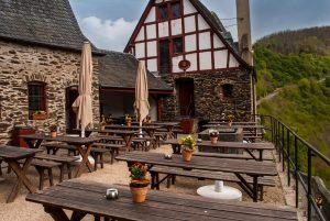 Courtyard cafe at Burg Eltz.
