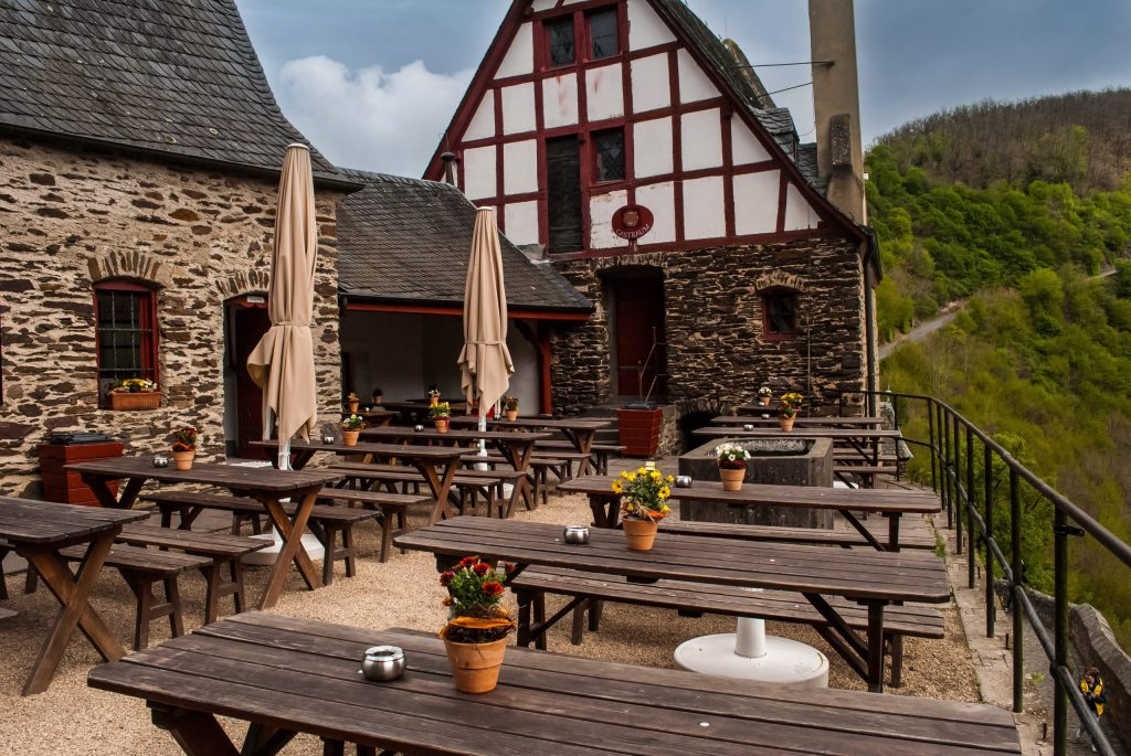 Courtyard cafe at Burg Eltz.