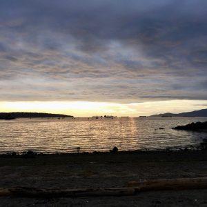 Watching the rain roll in from the beach in English Bay.