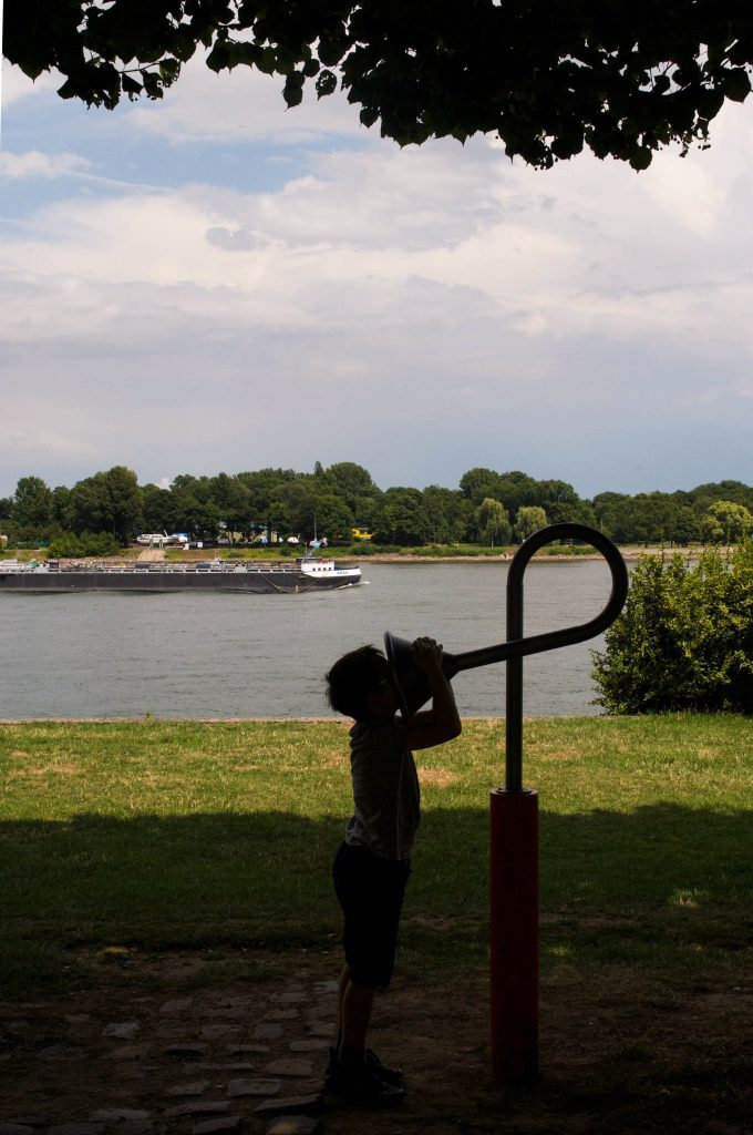 My son playing on the banks of the Rhine.