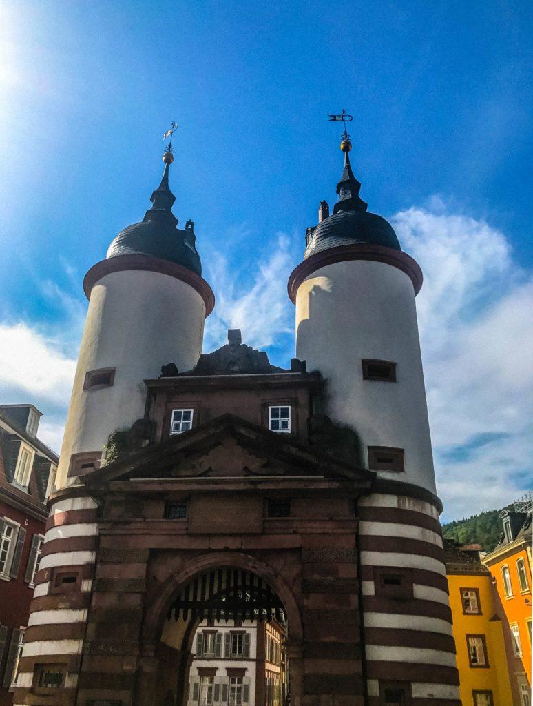 The gate on the Alte Brücke in Heidelberg's Altstadt