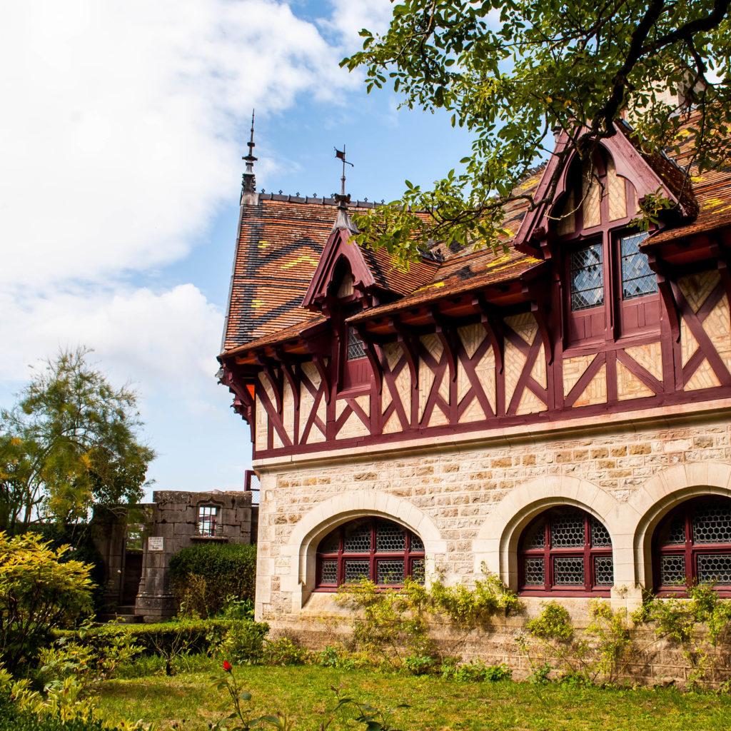 Gorgeous glazed roof tiles at Château de la Rochepot.