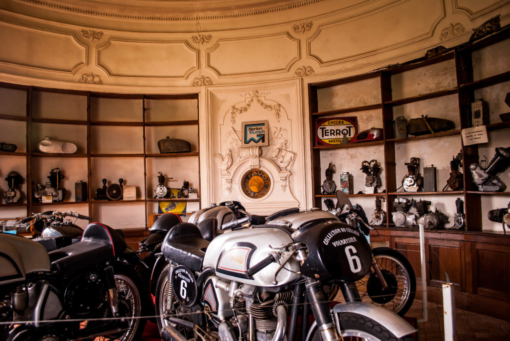 Motorcycles inside Château de Savigny-les-Beaune
