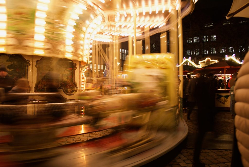 Carousel in the Heidelberg Christmas Market in the Universitätplatz