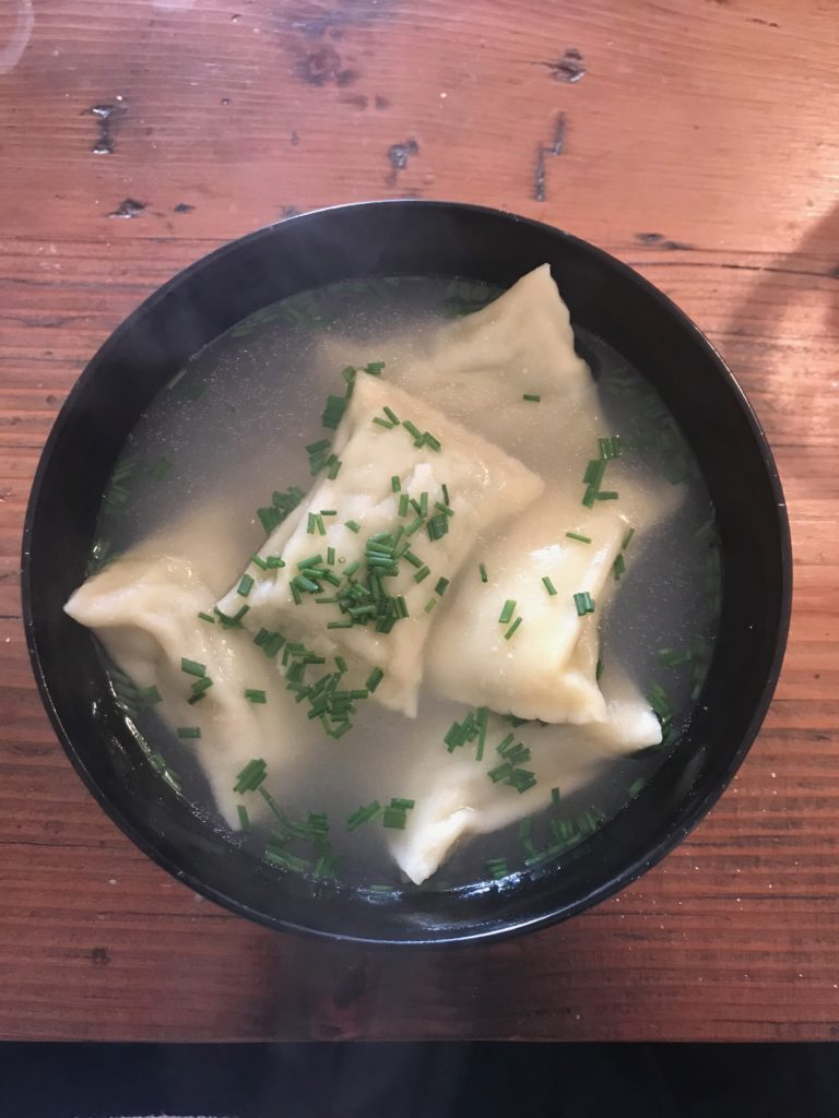 A bowl of steaming Maultaschen I made at home.