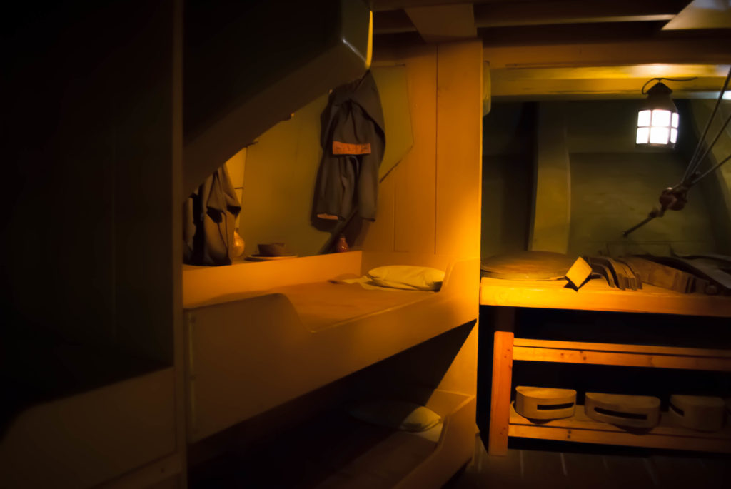 The crew quarters on the replica 18th-century Dutch trading ship Amsterdam.
