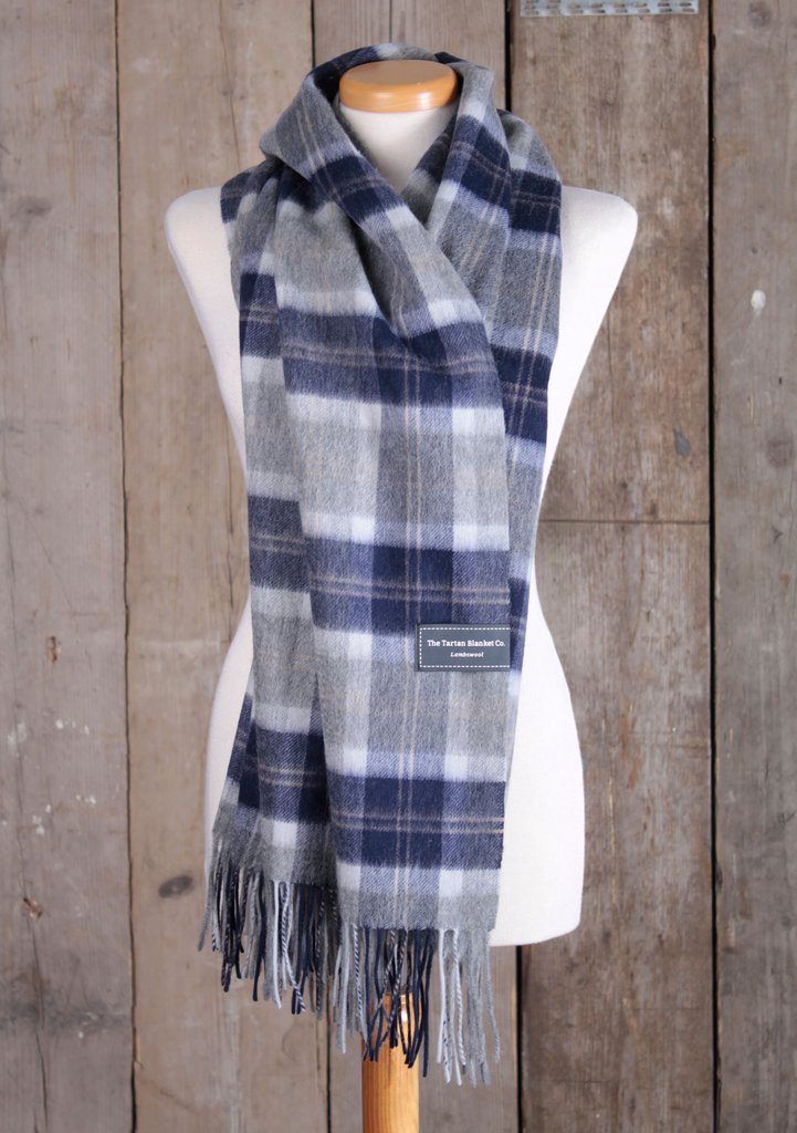 A Tartan Blanket Co. oversized lambswool scarf in Bannockbane Silver Tartan, photo courtesy Tartan Blanket Co.