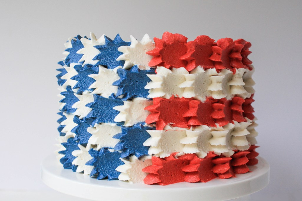 Buttercream Stars And Stripes Flag Cake