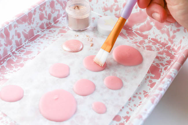 Adding the Shimmer Dust to the Chocolate Dots | Erin Gardner | Erin Bakes