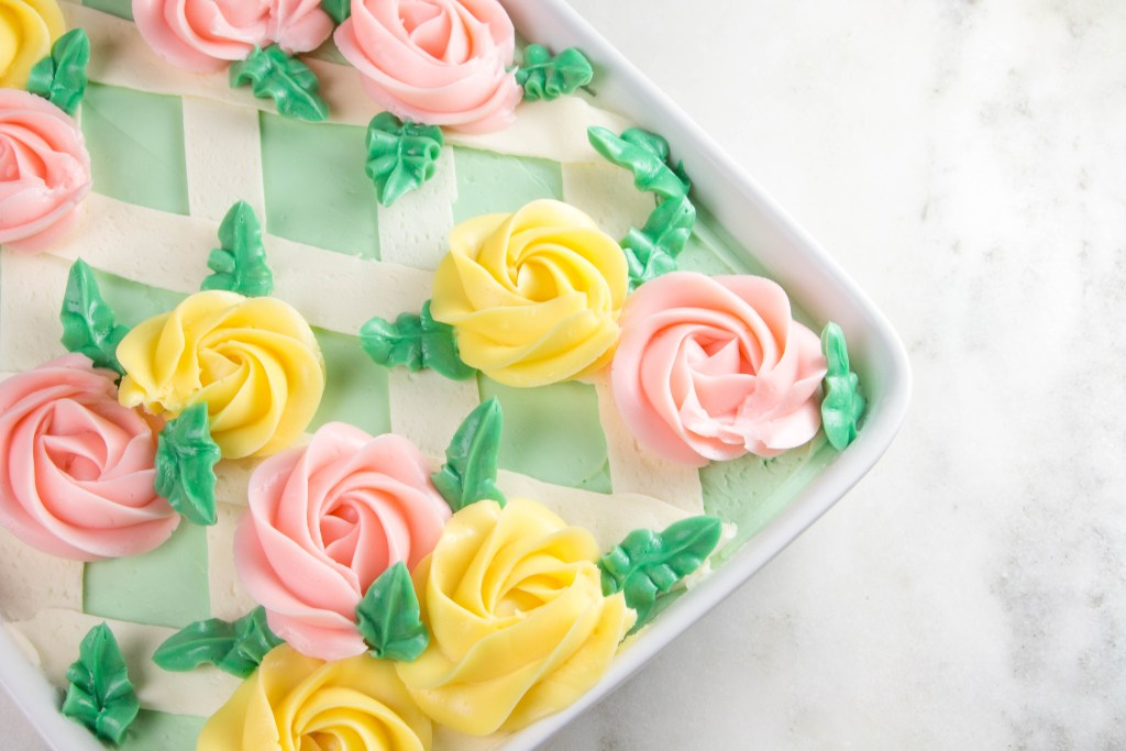 Strawberry Sheet Cake topped with Swiss Meringue Buttercream