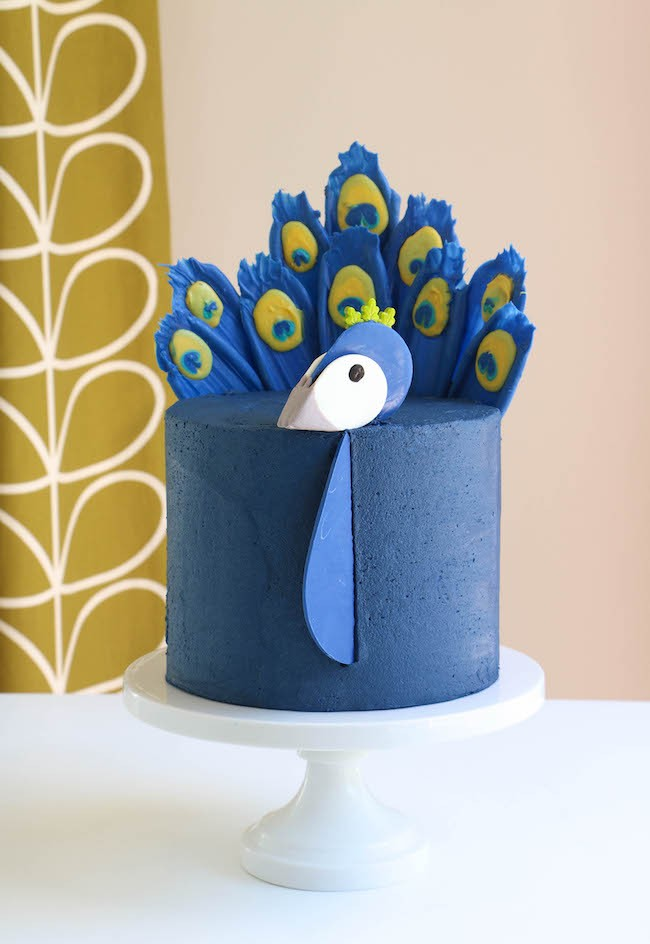 Peacock Cake with Chocolate Feathers by Erin Gardner | ErinBakes