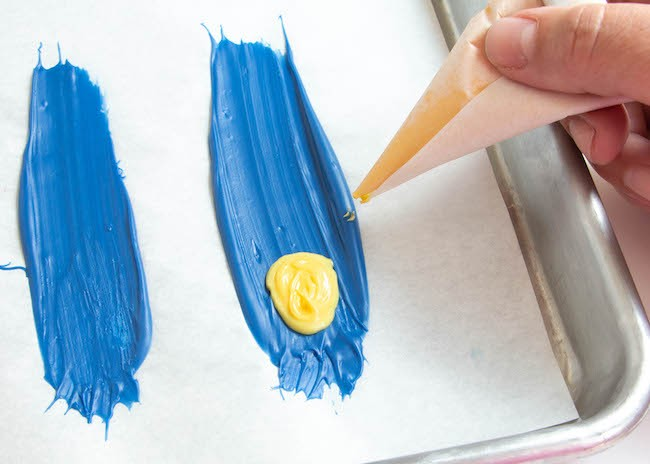 Piping Yellow Chocolate onto the Feather   Erin Gardner   ErinBakes