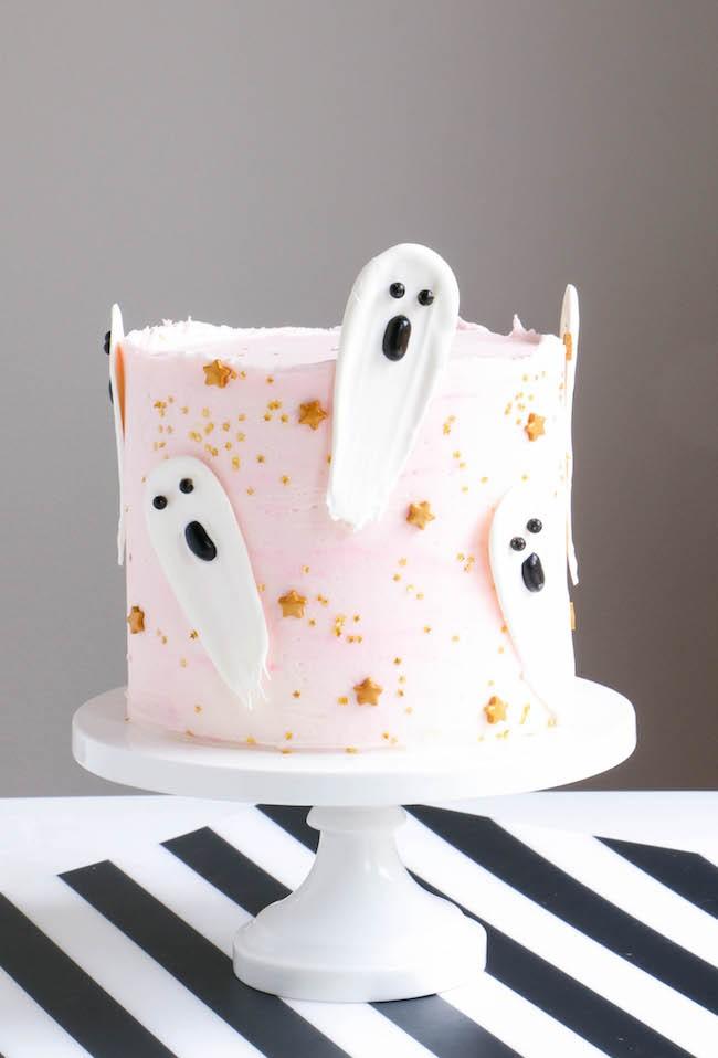 Brushstroke Ghost Halloween Cake by Erin Gardner | Erin Bakes