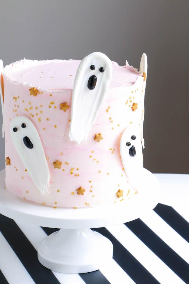 Brushstroke Ghost Halloween Cake | Erin Gardner | Erin Bakes