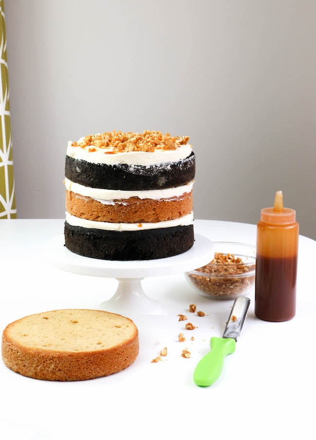 Candy Bar Cake Components | Erin Bakes