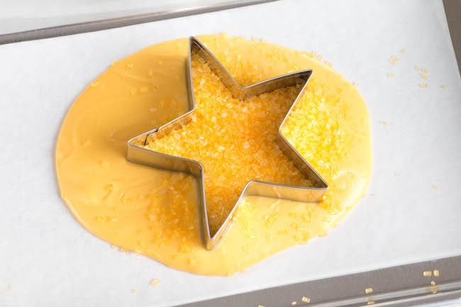 Star Cutter Filled with Yellow Sanding Sugar | Erin Bakes