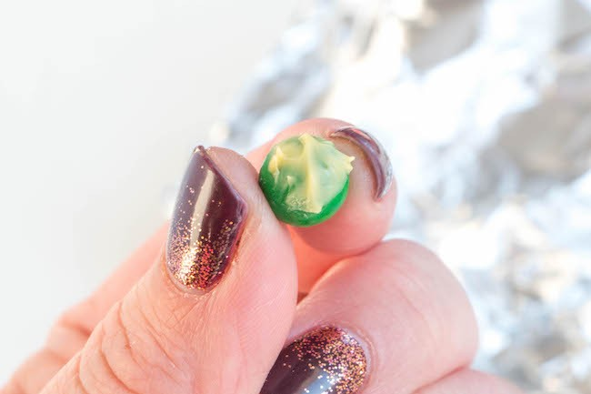 Green Sixlet Dappled with Yellow Chocolate | Erin Bakes