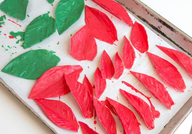 Finished Red and Green Chocolate Poinsettia Leaves | Erin Bakes