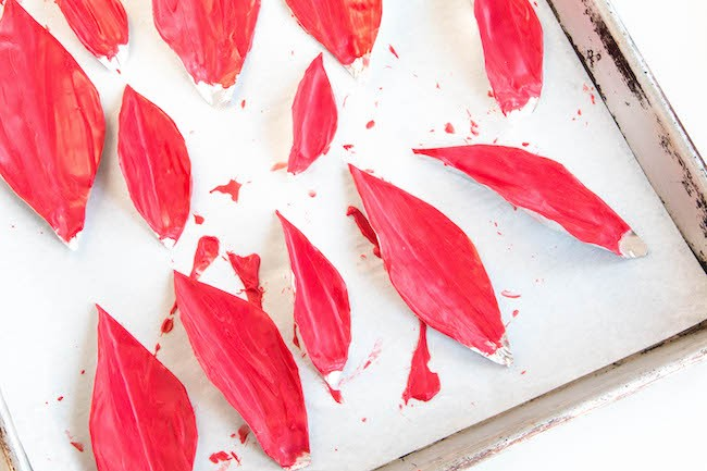 Leaf Molds Covered with Melted Red Chocolate | Erin Bakes