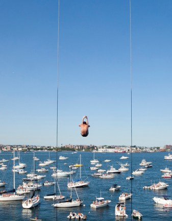 Fourteen divers from eight countries took a 90-foot leap, jumping into the Boston Harbor from the Institute of Contemporary Art's roof, Sunday, Aug. 25, 2013. PHOTO BY ERIN BALDASSARI/BOSTON METRO.