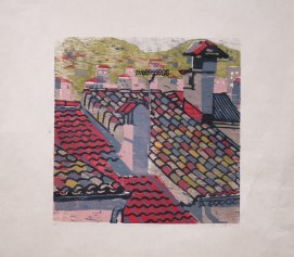 "Roof Series VII, woodcut, 12"" x 12"", 2007."