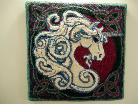 finished unicorn punch rug