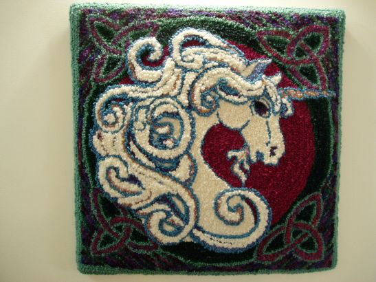 finished unicorn punch rug