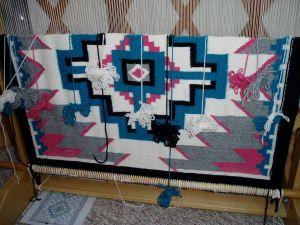 Navajo tapestry in progress