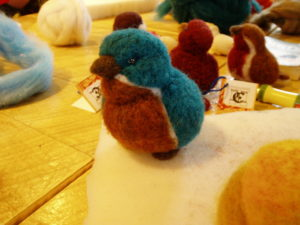 needle felted bluebird