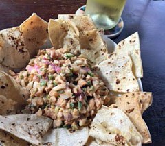 Super Bowl Eats: Shrimp Salad Dip with Baked Tortilla Chips
