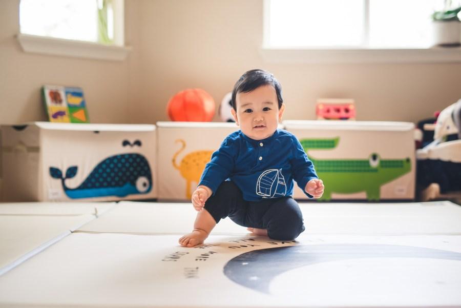 Baby boy in a playroom
