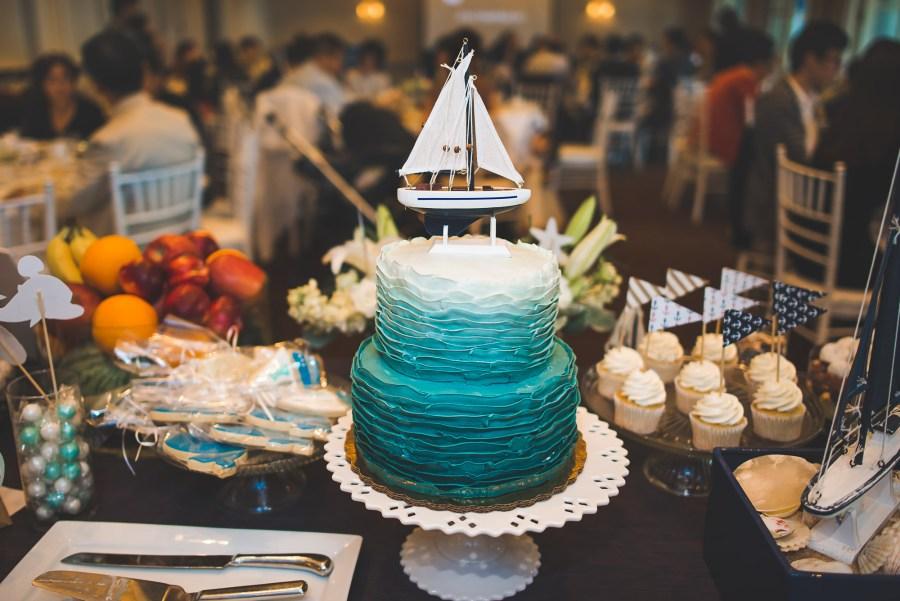 Sailboat themed birthday cake and treats