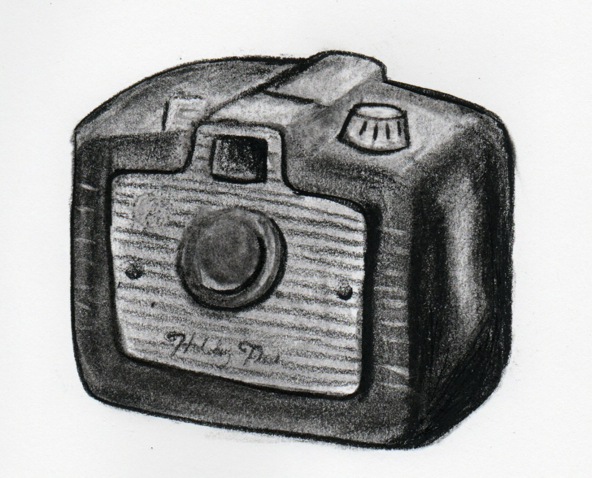 Coffee Sketch #9, created 1/19/16. Kodak Holiday Flash Brownie Camera (1953).