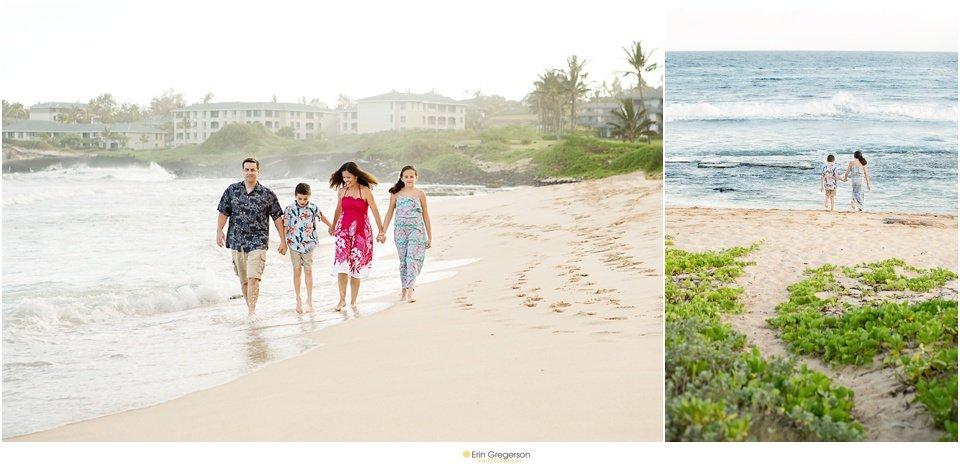 Family of four photo session on Kauai beach