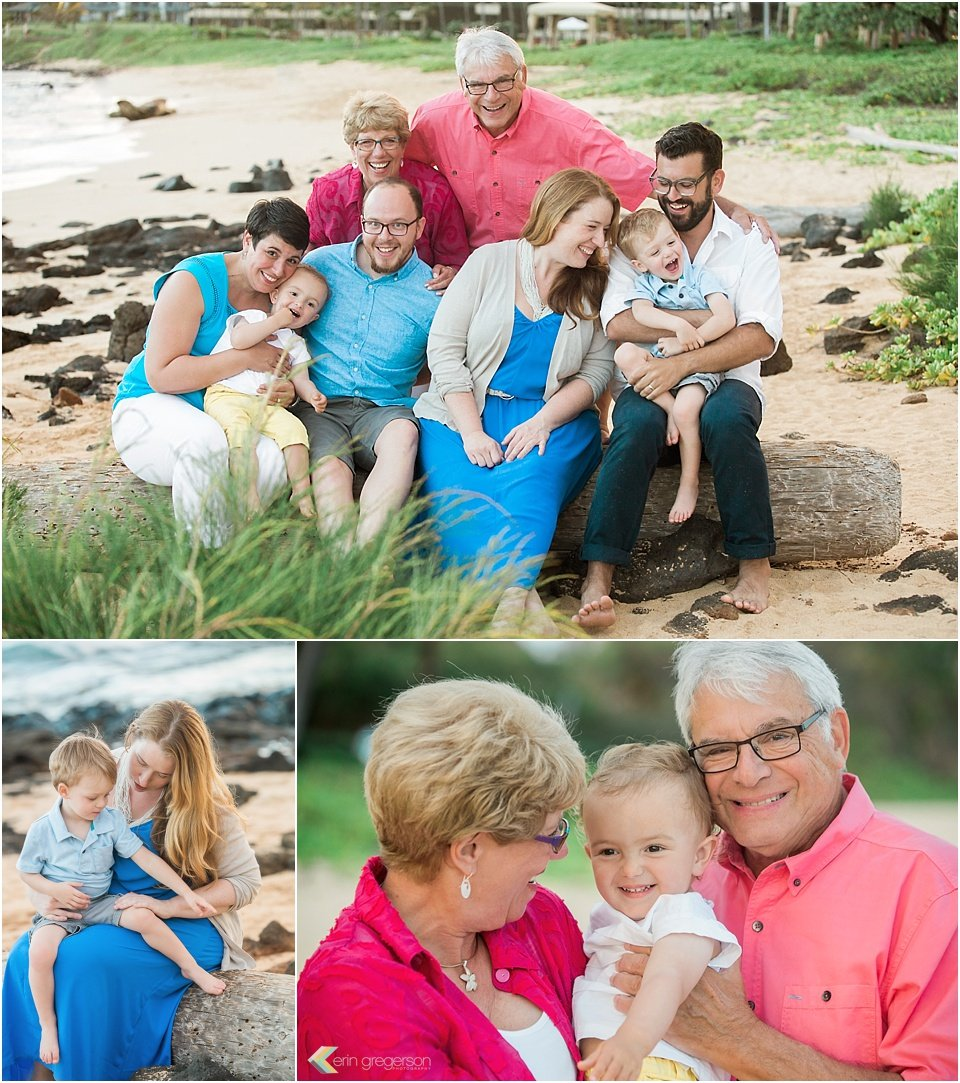 Kauai family photo session, collage, family group of 8, fun, bright clothing, Shipwrecks beach