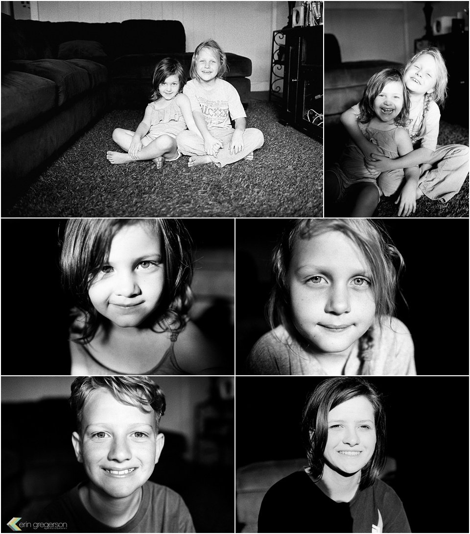 Collage of kids in high contrast light in black and white film