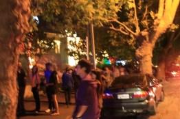 Onlookers at Street Christmas lights