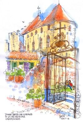 Line & Watercolour sketch. Ols Cite Carcassonne