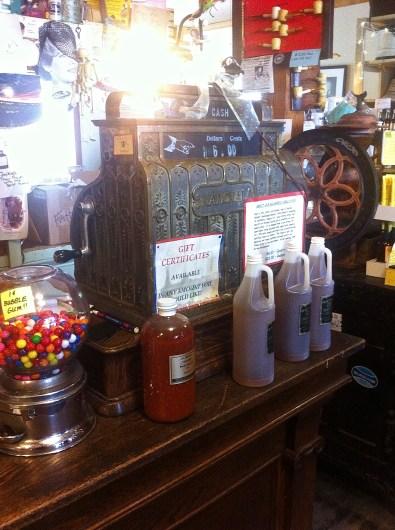 The cash register still in use.