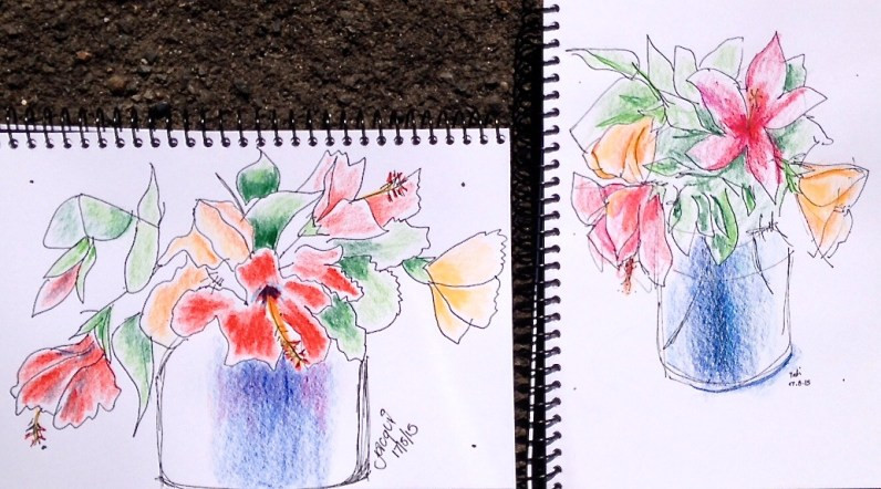 Monday. Pot plant sketches