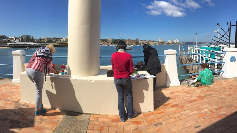 Friday. Sketching at Manly Cove